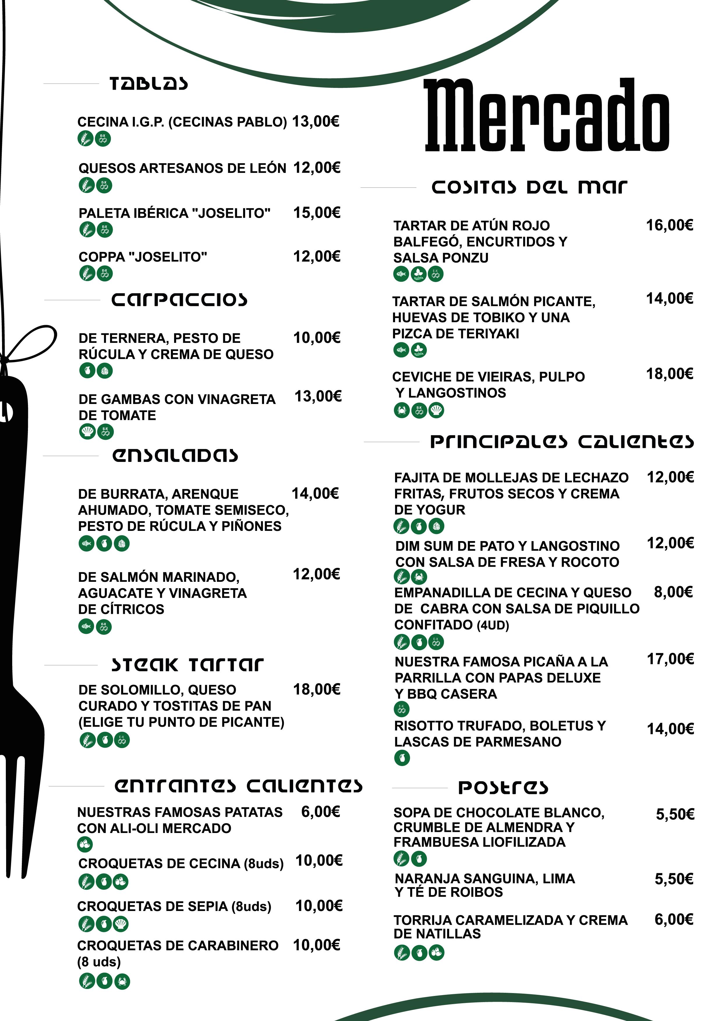 Menú Restaurante Mercado León